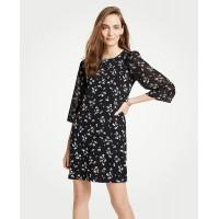 Floral Chiffon Sleeve Shift Dress