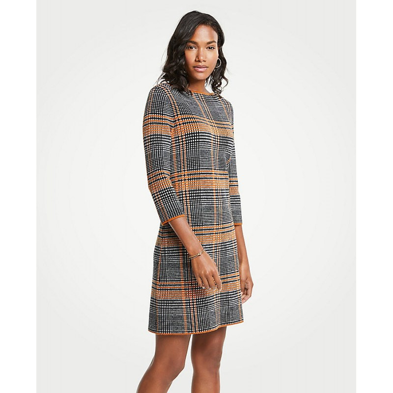 Plaid Sweater Shift Dress
