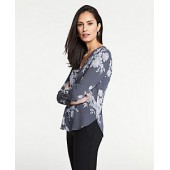 Pleat Front Mixed Media Top in Floral