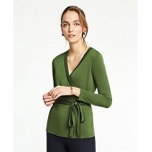 Piped Belted Wrap Top