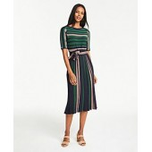Mixed Stripe Belted Sweater Dress