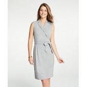 Lapel Belted A-Line Dress