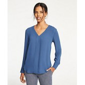 Piped V-Neck Blouse