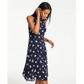 Floral Clip Dot Chiffon Midi Dress