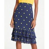 Polka Dot Pleated Pencil Skirt