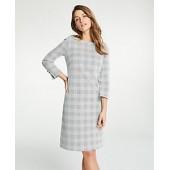 Plaid Boatneck Shift Dress