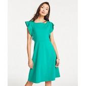 Ponte Flutter Sleeve Flare Dress