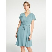 Pleated Tie Front Flare Dress
