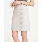 Textured Buttoned A-Line Skirt
