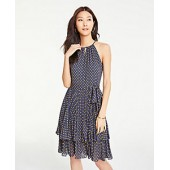 Polka Dot Tiered Halter Dress