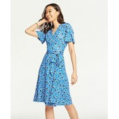 Floral Cluster Flutter Sleeve Wrap Dress