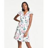 Floral Cluster Flutter Sleeve Wrap Dress