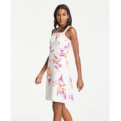 Floral Cutout Square Neck Sheath Dress