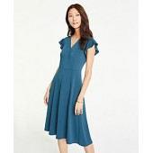 Flutter Sleeve Wrap Dress in Matte Jersey