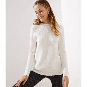 Mixed Ribbed Mock Neck Sweater