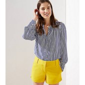 Striped Crossover Back Utility Blouse