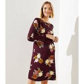 Maternity Floral Cuffed Shift Dress