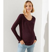 Maternity Speckled Long Sleeve Shirttail Tee
