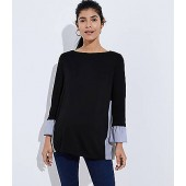 Maternity Striped Mixed Media Swing Top