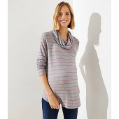 Maternity Striped Cowl Neck Top