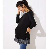 Maternity Floral Flounce Mixed Media Sweater