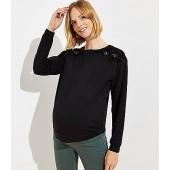 Maternity Velvet Lace Shoulder Sweatshirt