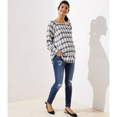 Maternity Destructed Skinny Jeans in Mid Indigo Wash