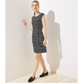 Striped Side Shirred Dress