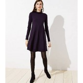 Ruffle Mock Neck Sweater Dress