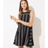 Dot Stripe Sleeveless Swing Dress