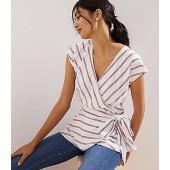 Striped Dolman Cap Sleeve Wrap Blouse