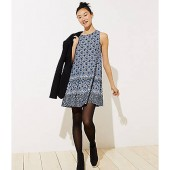 Border Mosaic Sleeveless Swing Dress