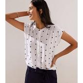 Dotted Dolman Cap Sleeve Shirt