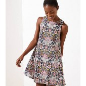 Paisley Floral Sleeveless Swing Dress