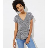 Dotted Stripe Tulip Sleeve Wrap Top