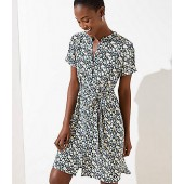 Floral Tie Waist Shirtdress