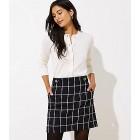 Windowpane Button Tab Waist Shift Skirt