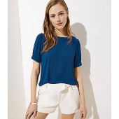 Puff Sleeve Button Back Top