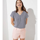 Striped Buttoned Petal Sleeve Top