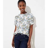 Paisley Puff Sleeve Button Back Top