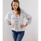 Striped Blouson Sleeve Button Down Top