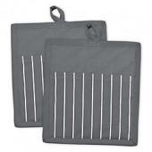 Grey Stripe Pocket Oven Mitts (Set of 2)
