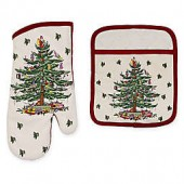 Spode Christmas Tree by Avanti Pot Holder and Oven Mitts Set
