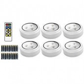Brilliant Evolution 3-Inch LED Wireless Puck Lights with Remote (Set of 6)