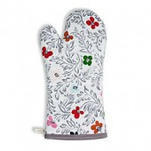 Kate Floral Block Print Oven Mit in White
