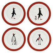 Portmeirion Red Penguin Dessert Plates (Set of 4)