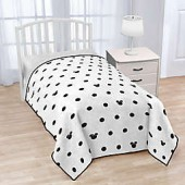 Disney Minnie Mouse Icon and Dots Twin Blanket in White/Black