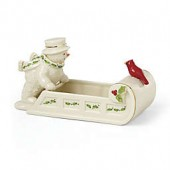 Lenox Happy Holly Days Snowman with Cardinal Candy Dish