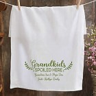 Personalized Grandkids Spoiled Here Tea Towel