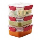 Joseph Joseph Nest Lock 6-Piece 37 oz. Food Storage Set in Red